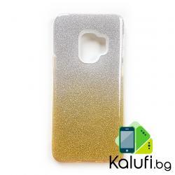 Усилен кейс с мотив пясъчен брокат за Samsung Galaxy S9 (Гръб от силикон - TPU, преливащ СРЕБРИСТО - ЖЪЛТ)