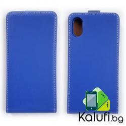 Вертикален флип калъф с магнитна закопчалка за iPhone X (син)