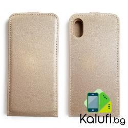 Вертикален флип калъф с магнитна закопчалка за iPhone X (златист)