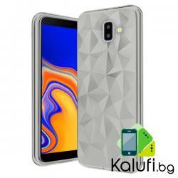 """Кейс с релеф """"диамант"""" за Samsung Galaxy J6 PLUS (Гръб от силикон - TPU, ПРОЗРАЧЕН)"""