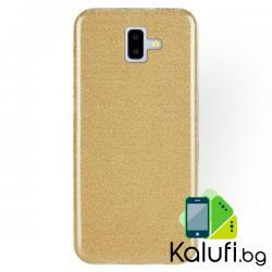 Усилен кейс с мотив пясъчен брокат за Samsung Galaxy J6 PLUS (Гръб от силикон - TPU, ЗЛАТИСТ)